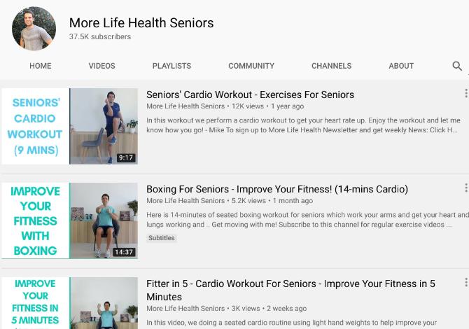 Больше Life Health Seniors учит пожилых людей поддерживать себя в форме и чувствовать себя здоровыми с помощью кардио-упражнений стоя и сидя