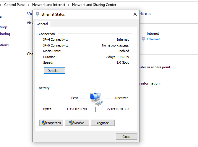 connection status windows