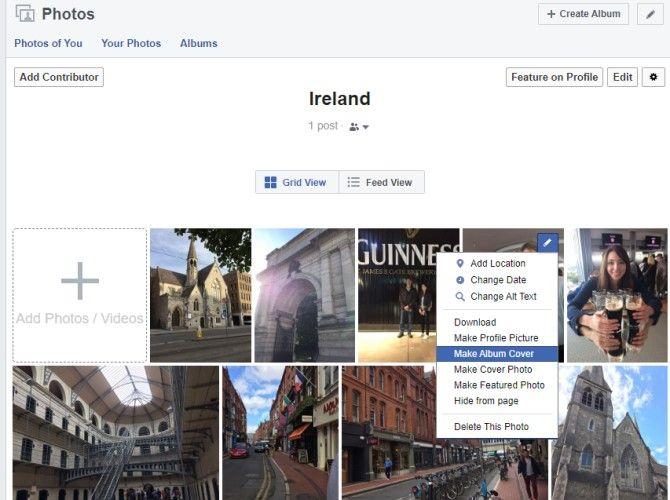 Set Facebook Album Cover Photo