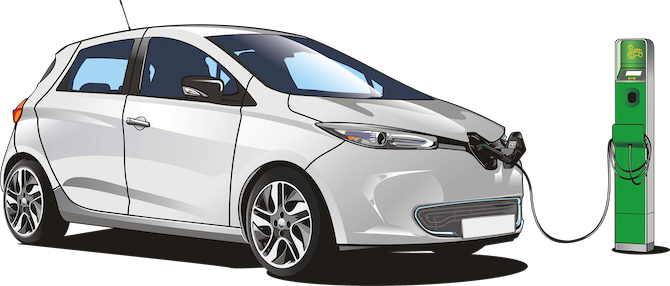 illustration of charging an electric car