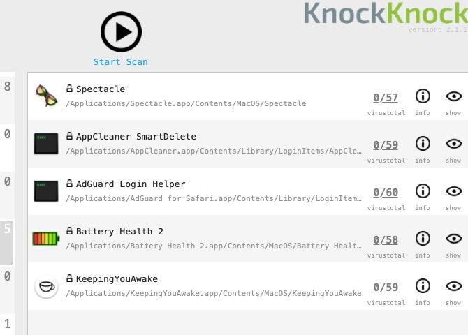Scan results for login items in KnockKnock Mac app