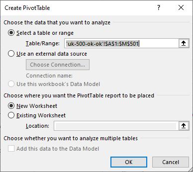 microsoft excel pivot table range