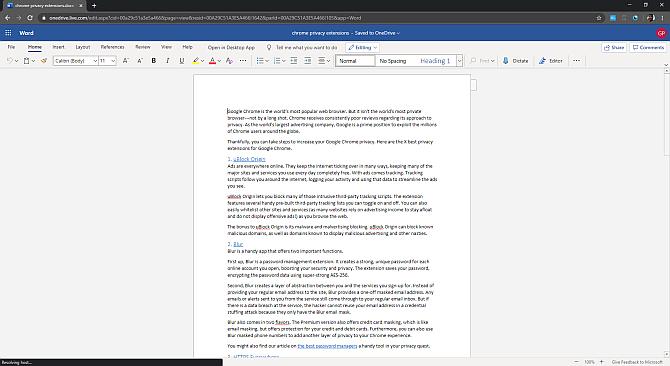 Microsoft Office Online 2020