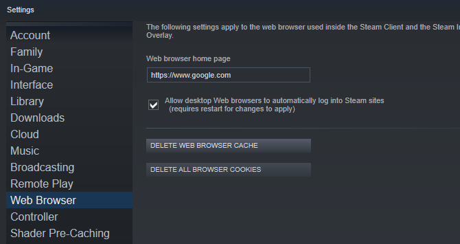 Delete the Steam browser cache