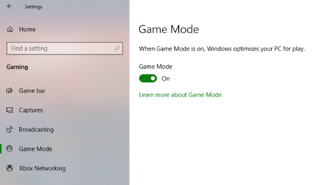 Windows Game Mode can improve Steam performance