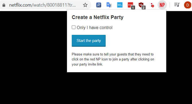 netflix party create party