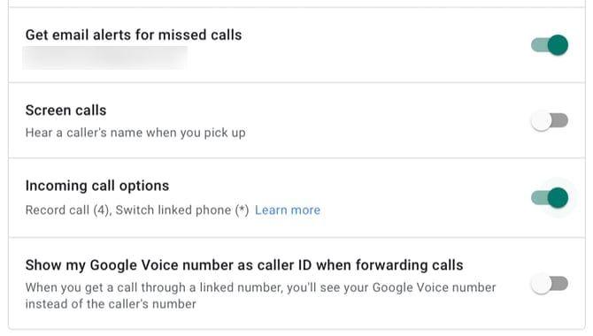 Включение параметров входящих вызовов для Google Voice