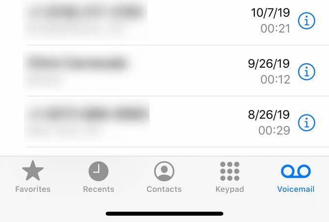 экран голосовой почты iPhone