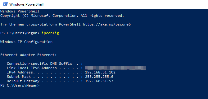router ip address windows powershell