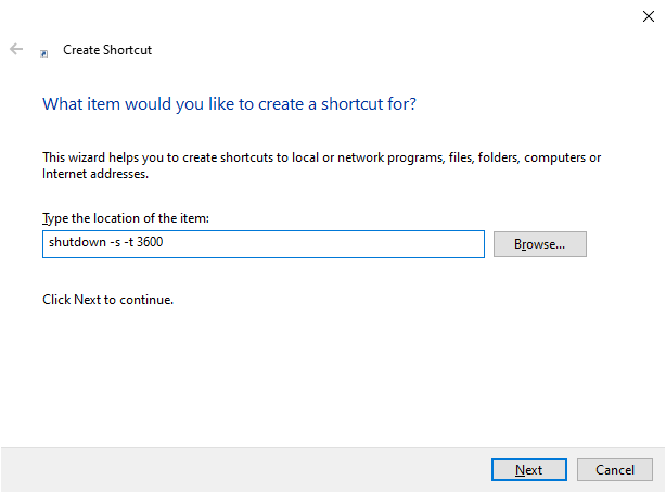 Windows shutdown timer shortcut