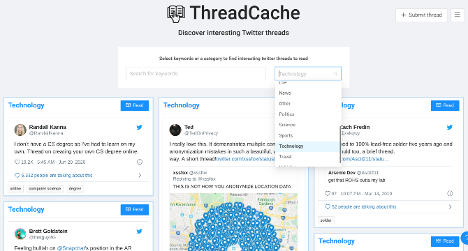 Discover Twitter threads worth reading at ThreadCache