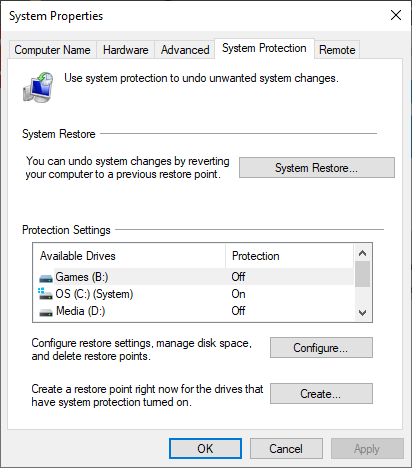 windows 10 system protection properties options