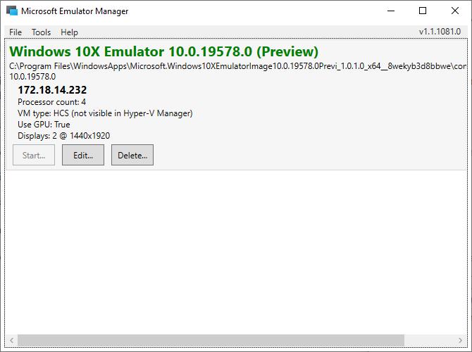 Windows 10x Microsoft Emulator
