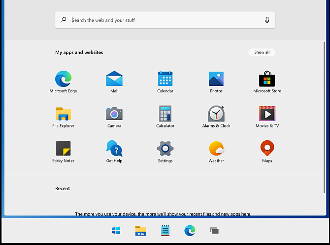 Windows 10x Start menu live tiles