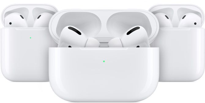 AirPods and AirPods Pro in charging bag with green status light