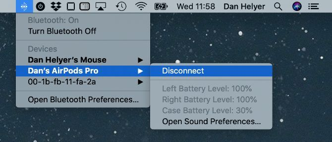 AirPods battery level in macOS Bluetooth menu