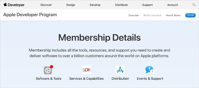 Apple Developer Program membership details