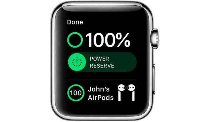 Apple Watch Control Center showing AirPods battery