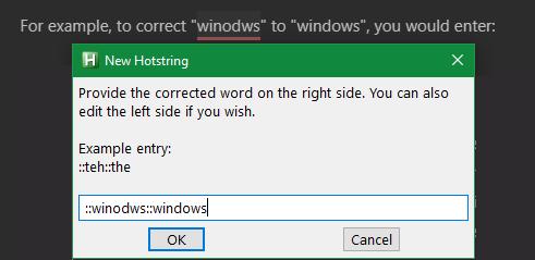 AutoHotkey Correction Shortcut