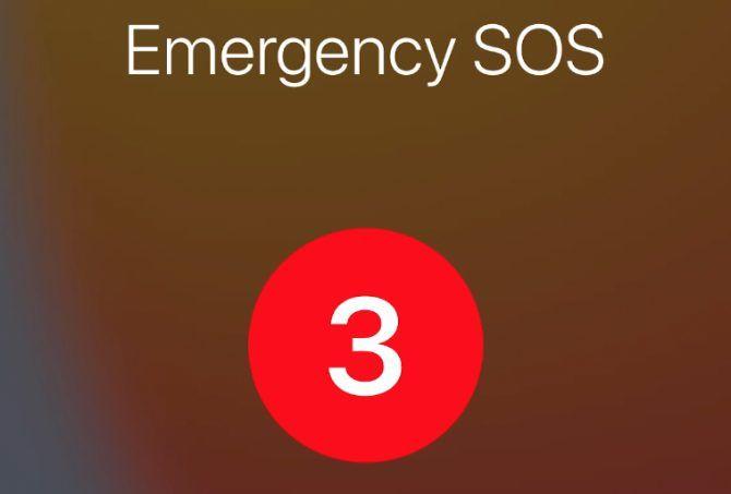 Emergency SOS option on iPhone