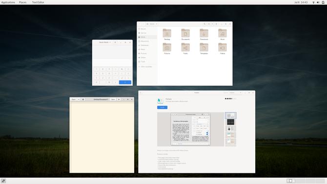 GNOME Classic shows open windows