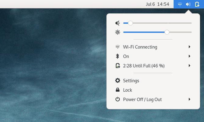 GNOME Classic user session menu