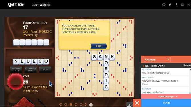 Just Words Online Scrabble Game