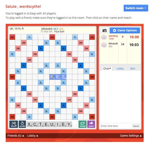 Lexulous online Scrabble game