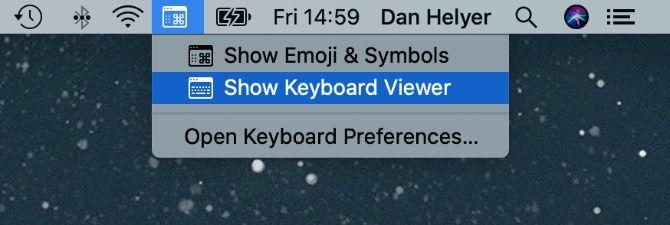 Show Keyboard Viewer option in Mac menu bar