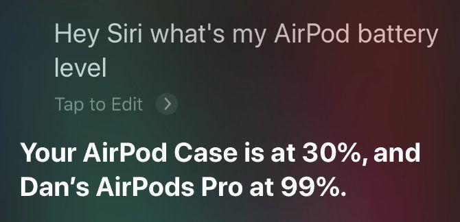Siri read AirPods battery percentage