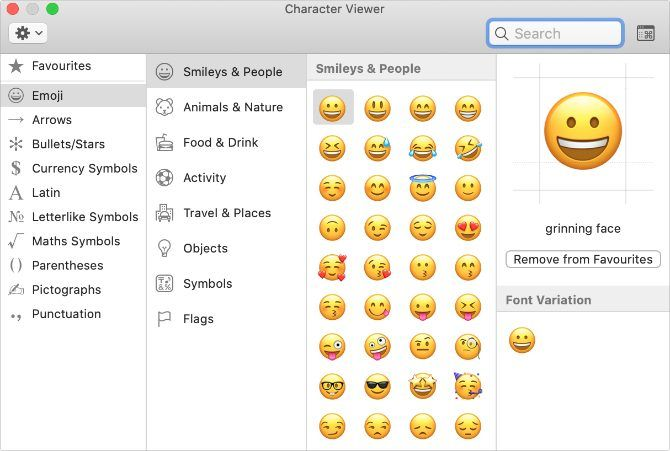 Special character viewer window in macOS