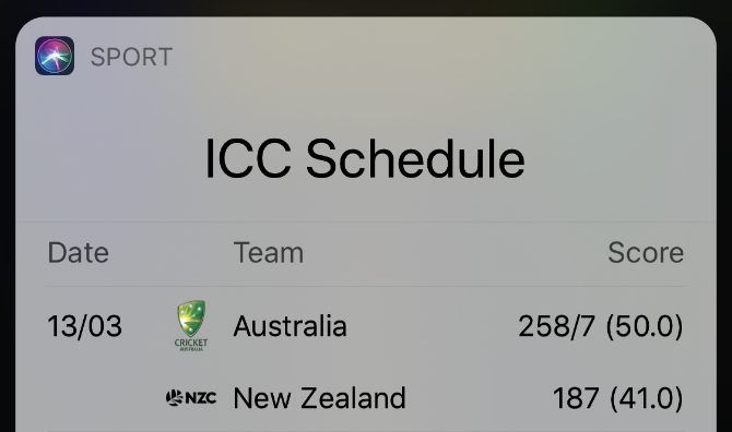 Sports scores in Siri