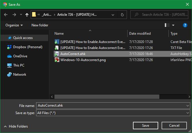Windows 10 AutoCorrect File Name AHK