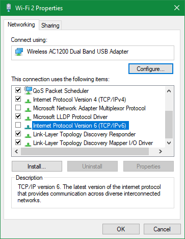 Windows Disable IPv6