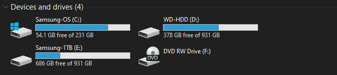 Windows Drive Space Free