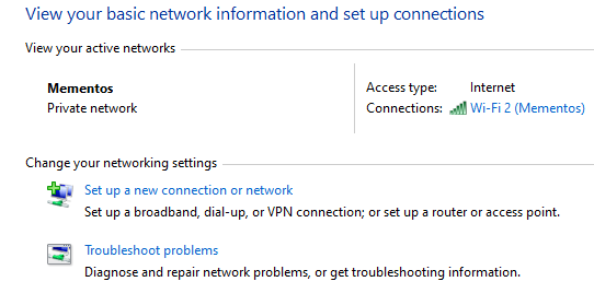 Windows Network Options Control Panel