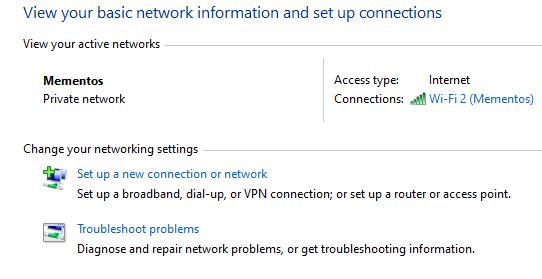 Windows Network Options Control Panel