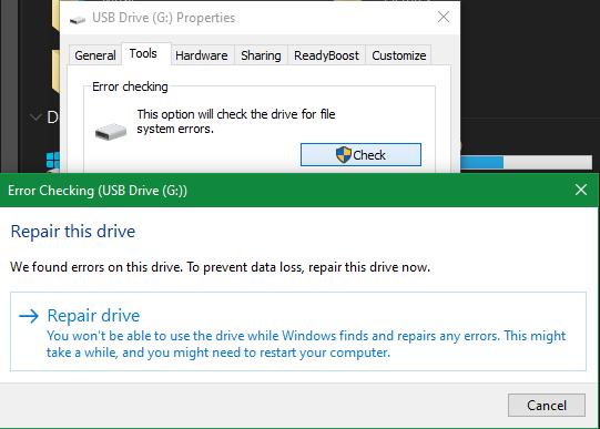 Repair Windows USB drive