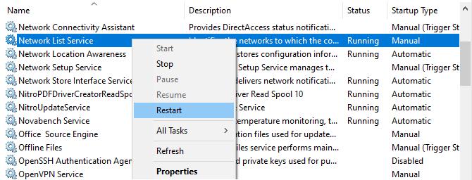 Windows Restart Service