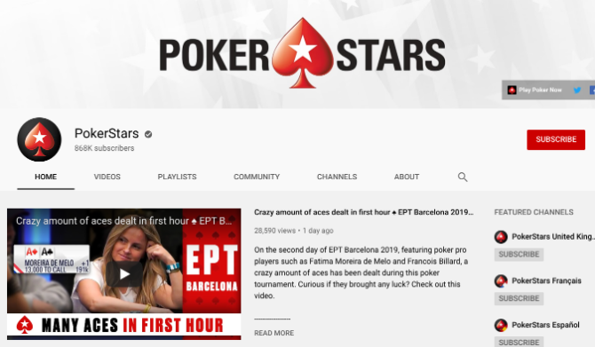 PokerStars is the best youtube channel to watch poker videos online for free