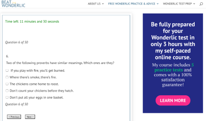 Beat The Wonderlic offers a free timed online wonderlic test to test your problem solving skills