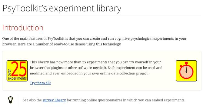 PsyToolkit hosts 25 free cognitive tests and psychological experiments online