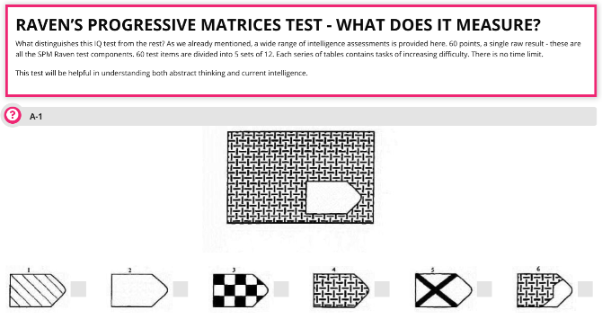 Take the Raven Progressive Matrices test to find your IQ without any language or math questions