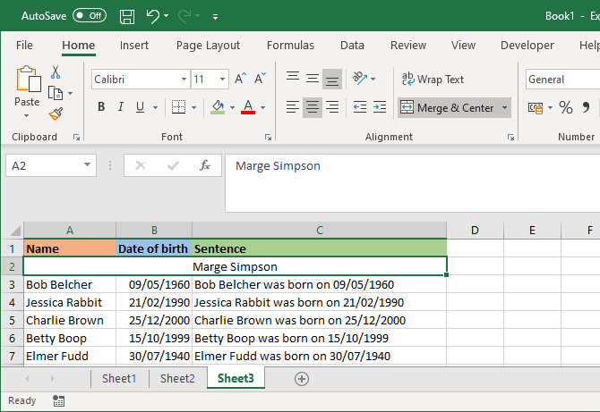 excel merge and center