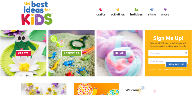 The Best Ideas for Kids is a simple repository of arts, crafts, and activities