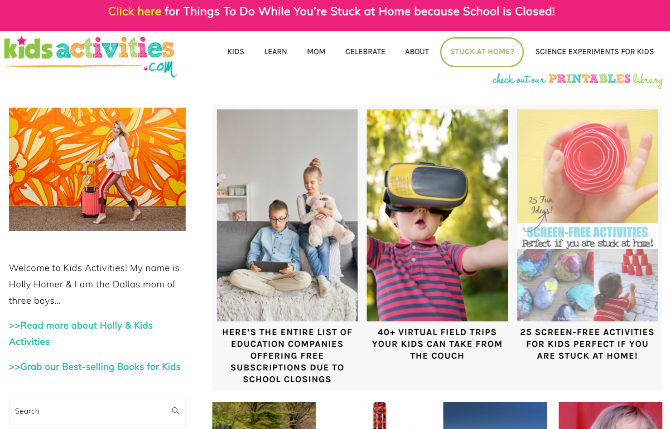 Kids Activities blog offers a variety of children's activities, including a stay-at-home survival guide during lockdown or quarantine