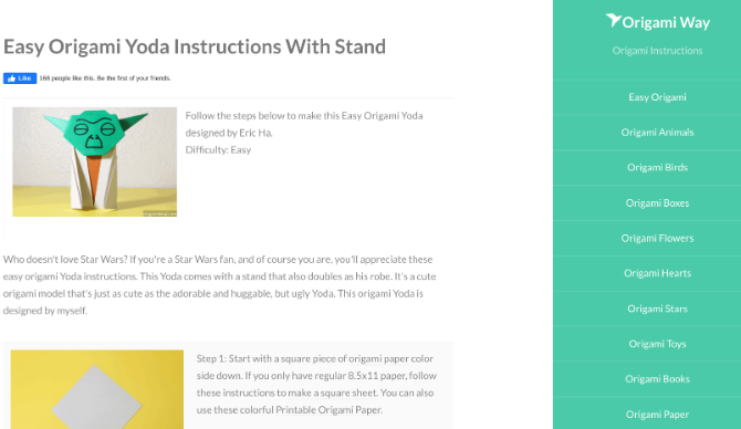 Origami Way offers simple and easy origami projects for beginners and children