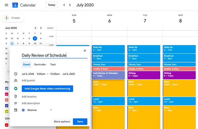 Use Google Calendar for Time Blocking in the Morning