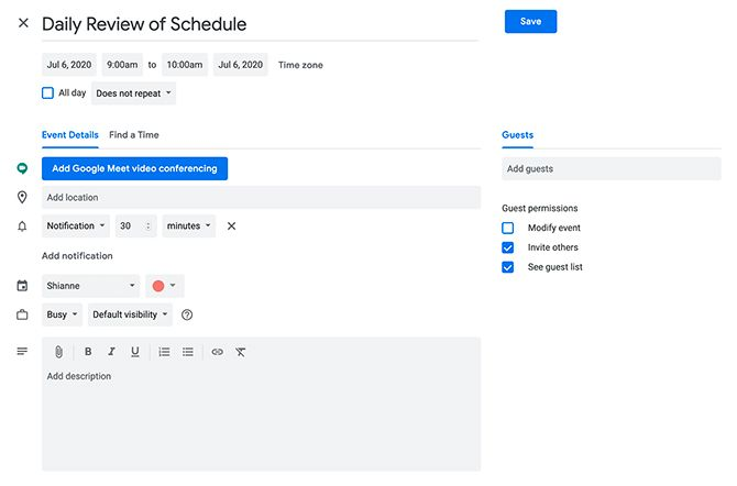Time Block in Google Calendar by Editing an Event