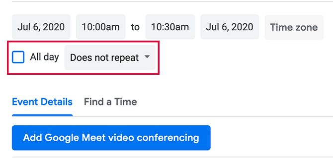 Setting Google Calendar Events to Repeat